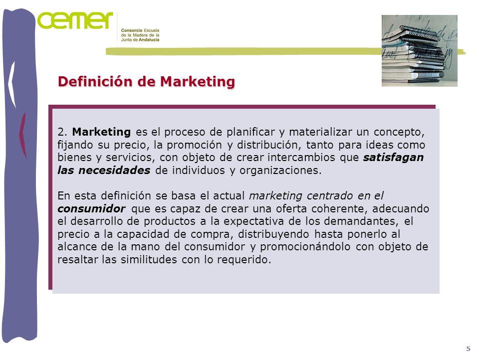 2. Marketing es el proceso de planificar y materializar un concepto, fijando su precio, la promoción y distribución, tanto para ideas como bienes y se