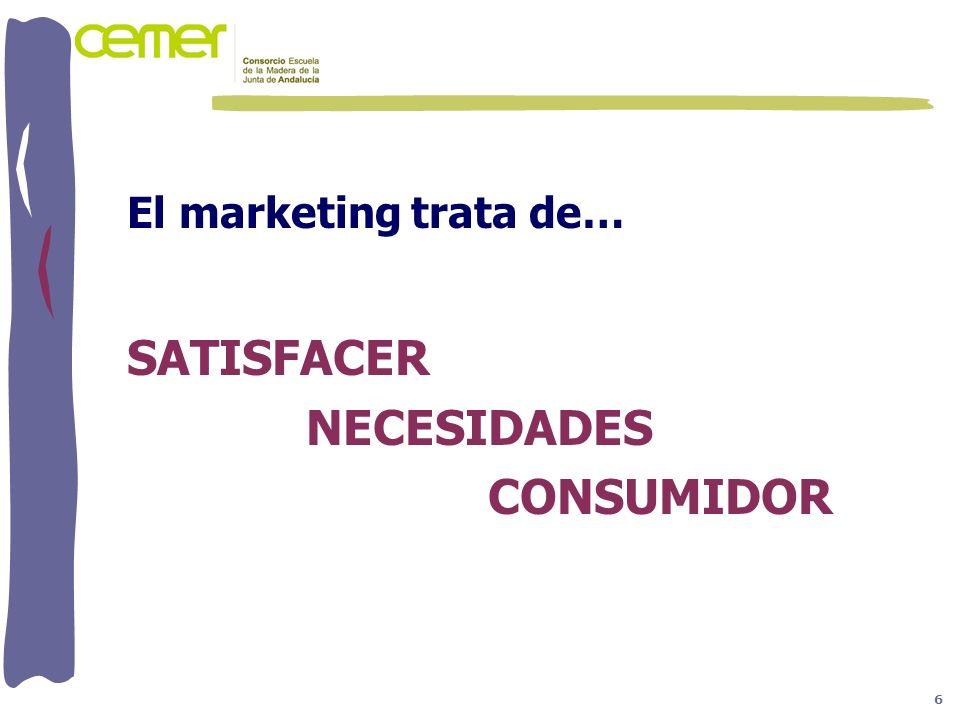 El marketing trata de… SATISFACER NECESIDADES CONSUMIDOR 6