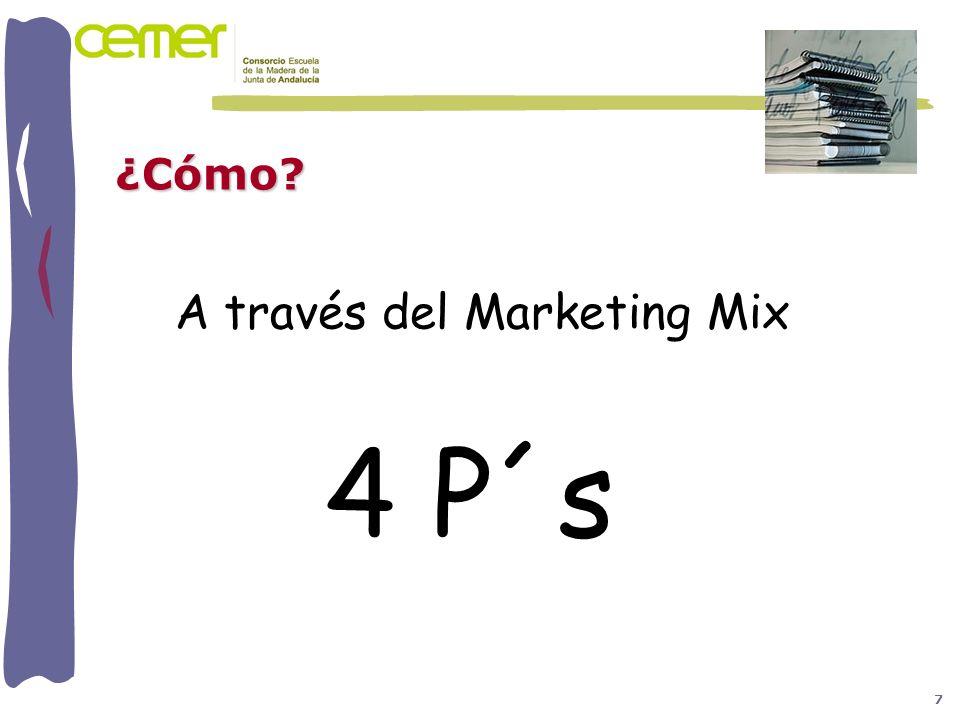 ¿Cómo? 7 A través del Marketing Mix 4 P´s