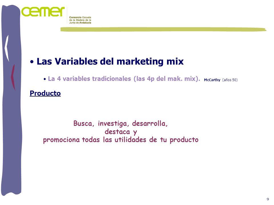 Las Variables del marketing mix La 4 variables tradicionales (las 4p del mak. mix). McCarthy (años 50) Producto La Rueda Busca, investiga, desarrolla,