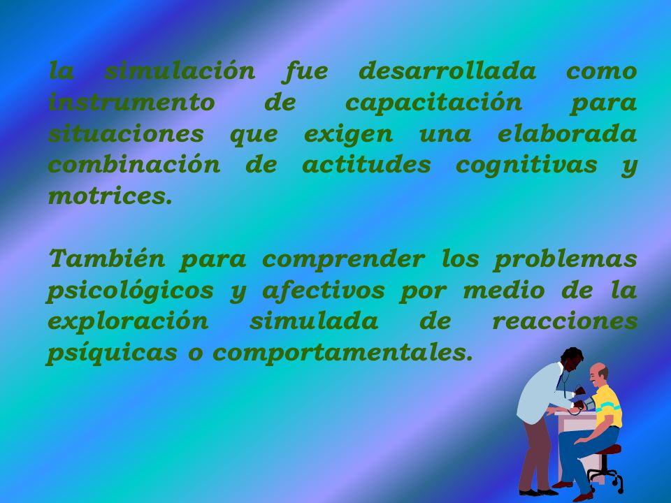 El aspecto psicológico, es uno de los soportes en un proceso de enseñanza y aprendizaje. Un simulador permite cometer errores y lo que es mas importan