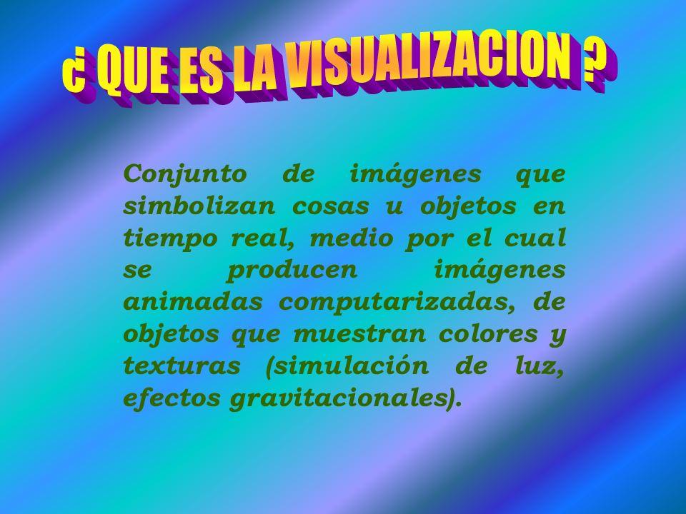 Conjunto de imágenes que simbolizan cosas u objetos en tiempo real, medio por el cual se producen imágenes animadas computarizadas, de objetos que muestran colores y texturas (simulación de luz, efectos gravitacionales).