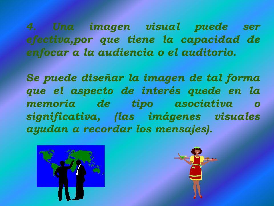 1. Permite Comunicar la información clara y permanente. 2. Una imagen visual y que además sea dinámica es el fundamental en la comunicación. 3. Un men
