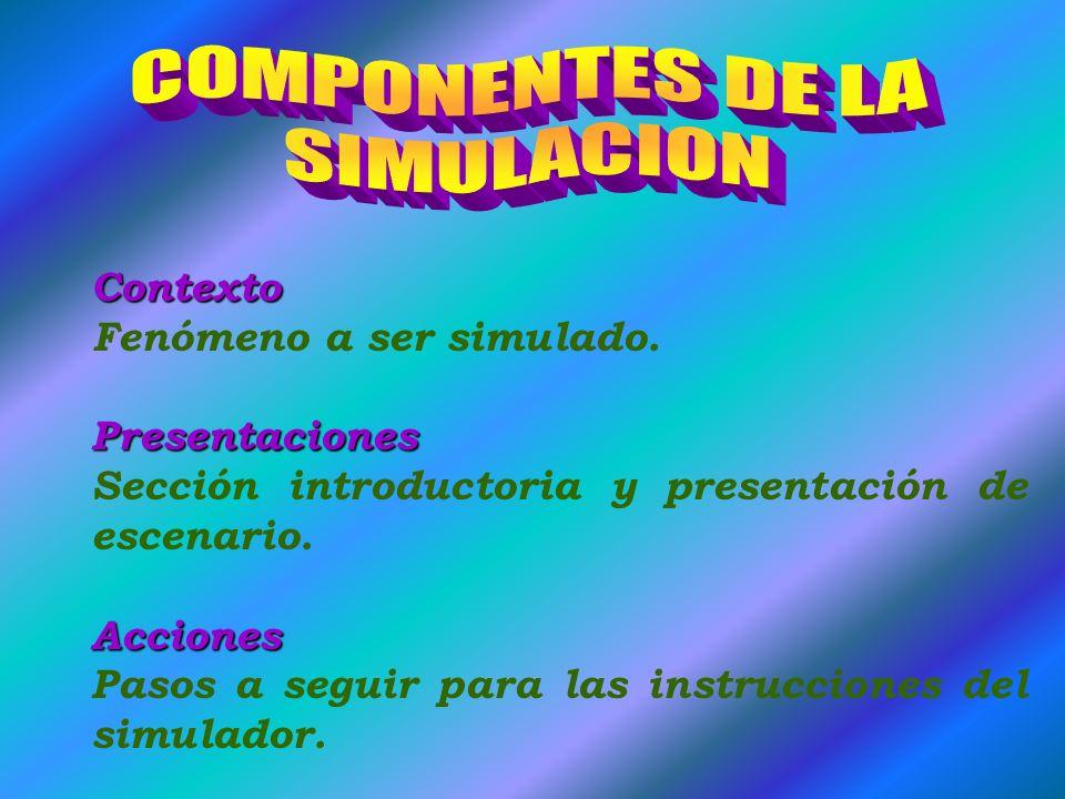 Contexto Fenómeno a ser simulado.Presentaciones Sección introductoria y presentación de escenario.Acciones Pasos a seguir para las instrucciones del simulador.
