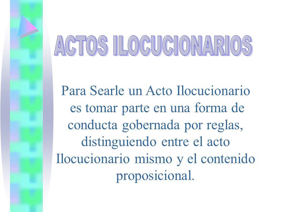 Para Searle un Acto Ilocucionario es tomar parte en una forma de conducta gobernada por reglas, distinguiendo entre el acto Ilocucionario mismo y el c