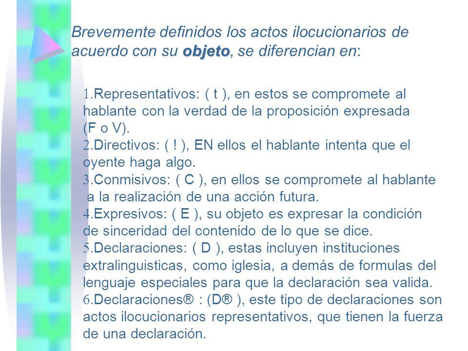 Brevemente definidos los actos ilocucionarios de objeto acuerdo con su objeto, se diferencian en: Representativos: ( t ), en estos se compromete al ha