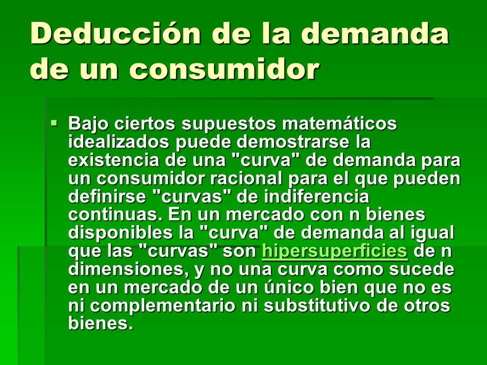Deducción de la demanda de un consumidor Bajo ciertos supuestos matemáticos idealizados puede demostrarse la existencia de una