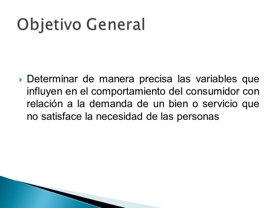 Determinar de manera precisa las variables que influyen en el comportamiento del consumidor con relación a la demanda de un bien o servicio que no sat