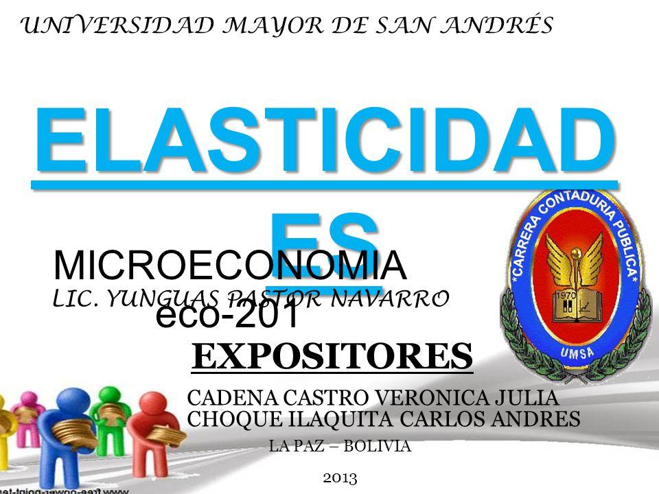 ELASTICIDAD ES LIC. YUNGUAS PASTOR NAVARRO EXPOSITORES CADENA CASTRO VERONICA JULIA CHOQUE ILAQUITA CARLOS ANDRES MICROECONOMIA eco-201 UNIVERSIDAD MA