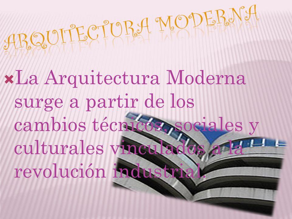 La Arquitectura Moderna surge a partir de los cambios técnicos, sociales y culturales vinculados a la revolución industrial.