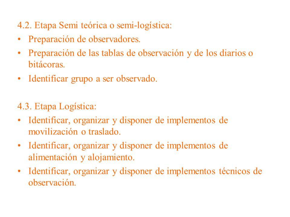 4.2. Etapa Semi teórica o semi-logística: Preparación de observadores. Preparación de las tablas de observación y de los diarios o bitácoras. Identifi