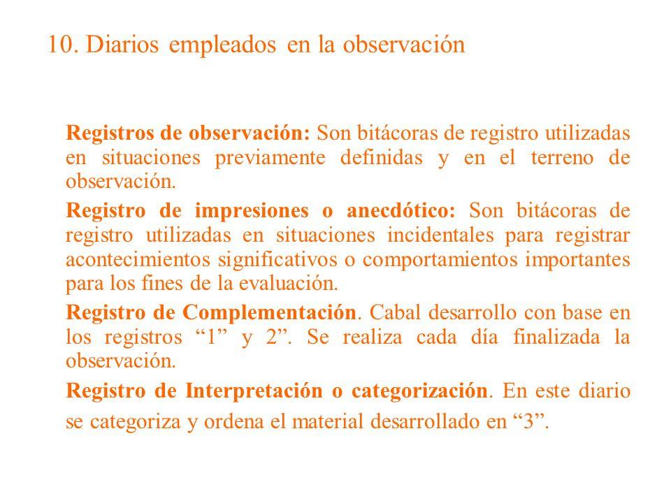 10. Diarios empleados en la observación Registros de observación: Son bitácoras de registro utilizadas en situaciones previamente definidas y en el te