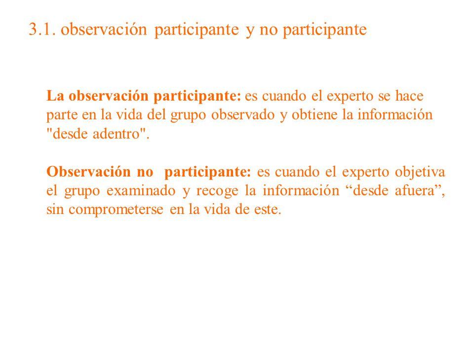 3.1. observación participante y no participante La observación participante: es cuando el experto se hace parte en la vida del grupo observado y obtie