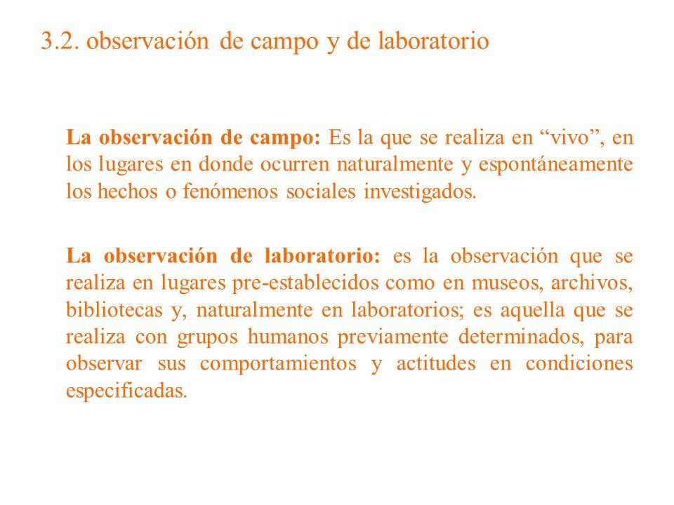 3.2. observación de campo y de laboratorio La observación de campo: Es la que se realiza en vivo, en los lugares en donde ocurren naturalmente y espon