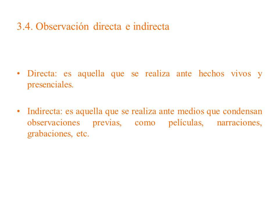 3.4. Observación directa e indirecta Directa: es aquella que se realiza ante hechos vivos y presenciales. Indirecta: es aquella que se realiza ante me