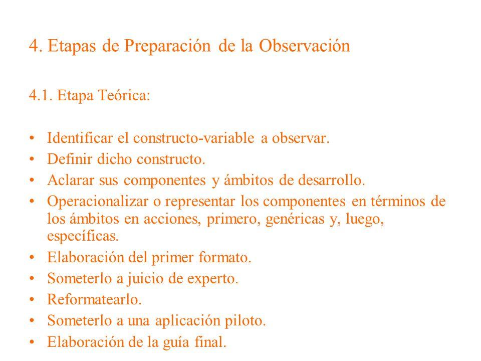 4. Etapas de Preparación de la Observación 4.1. Etapa Teórica: Identificar el constructo-variable a observar. Definir dicho constructo. Aclarar sus co