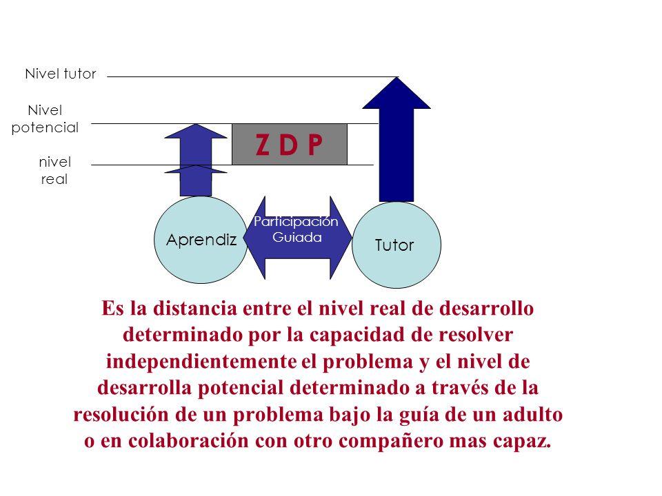 Aprendiz Es la distancia entre el nivel real de desarrollo determinado por la capacidad de resolver independientemente el problema y el nivel de desar