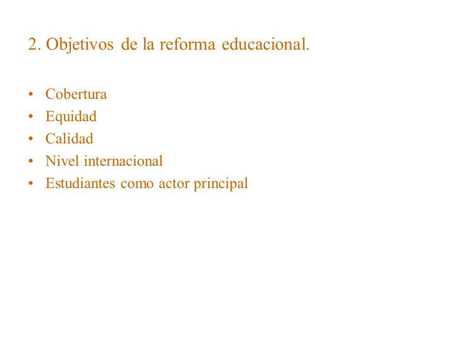 2. Objetivos de la reforma educacional. Cobertura Equidad Calidad Nivel internacional Estudiantes como actor principal