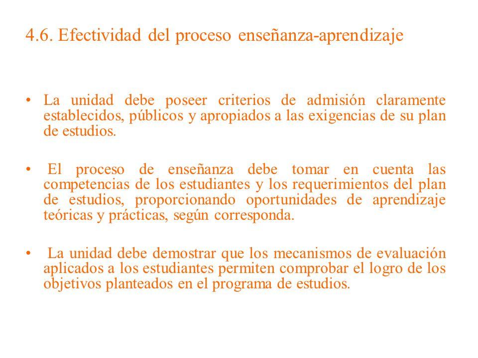 4.6. Efectividad del proceso enseñanza-aprendizaje La unidad debe poseer criterios de admisión claramente establecidos, públicos y apropiados a las ex