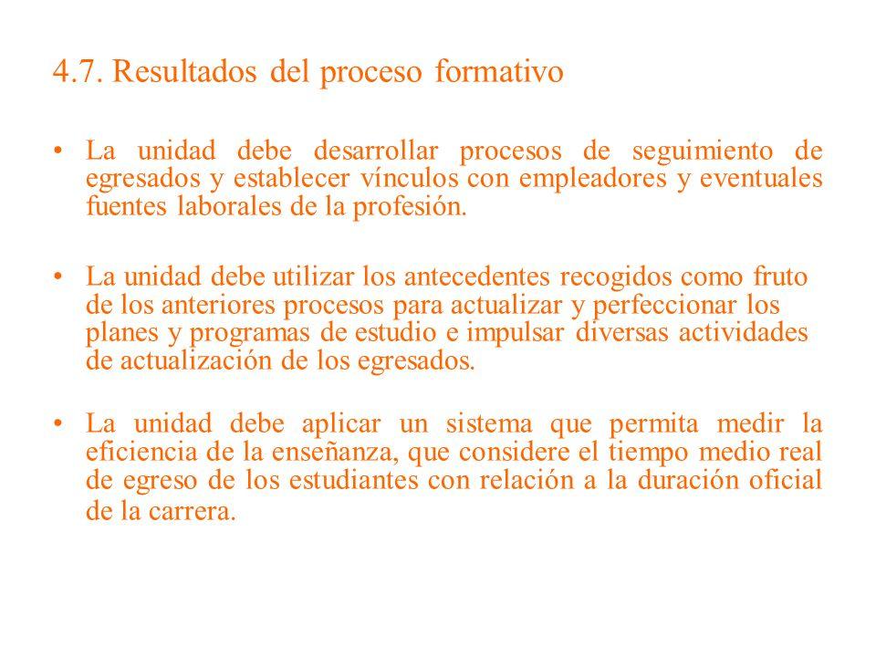 4.7. Resultados del proceso formativo La unidad debe desarrollar procesos de seguimiento de egresados y establecer vínculos con empleadores y eventual