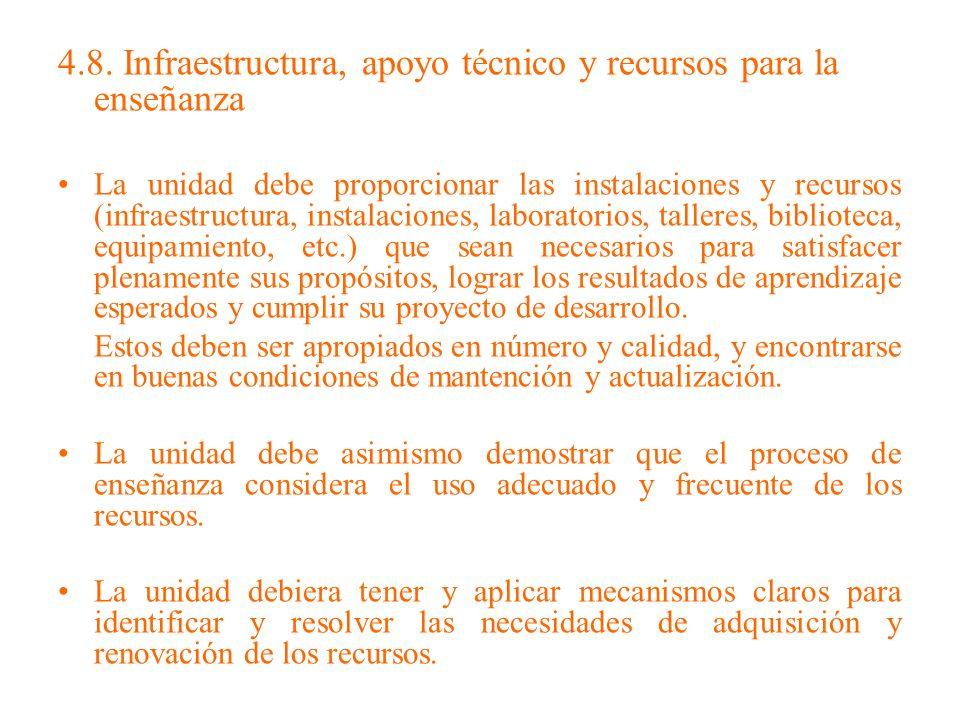 4.8. Infraestructura, apoyo técnico y recursos para la enseñanza La unidad debe proporcionar las instalaciones y recursos (infraestructura, instalacio