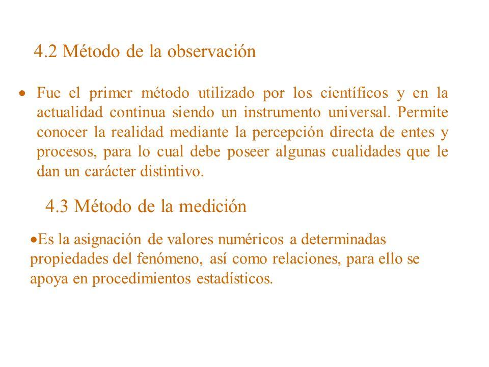 4.2 Método de la observación Fue el primer método utilizado por los científicos y en la actualidad continua siendo un instrumento universal. Permite c