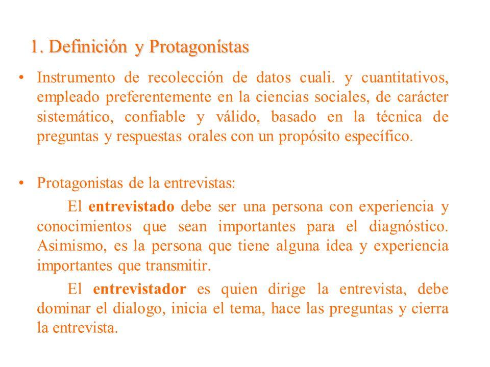 1. Definición y Protagonístas Instrumento de recolección de datos cuali. y cuantitativos, empleado preferentemente en la ciencias sociales, de carácte