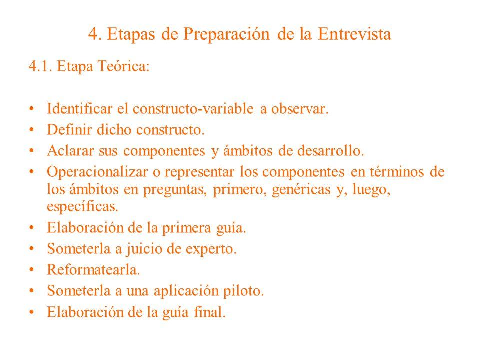 4.2.Etapa Semi teórica o semi-logística: Preparación del entrevistador.
