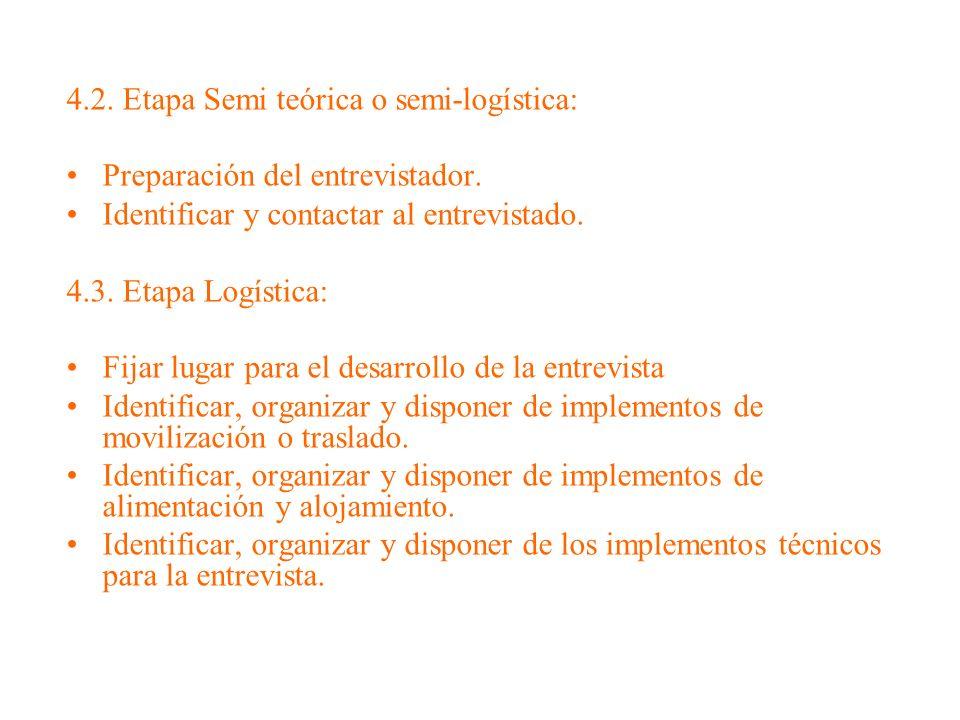 4.2. Etapa Semi teórica o semi-logística: Preparación del entrevistador. Identificar y contactar al entrevistado. 4.3. Etapa Logística: Fijar lugar pa