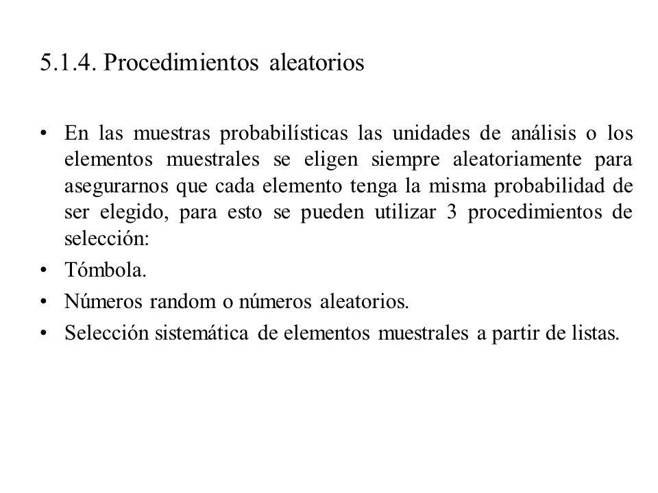 5.1.4. Procedimientos aleatorios En las muestras probabilísticas las unidades de análisis o los elementos muestrales se eligen siempre aleatoriamente