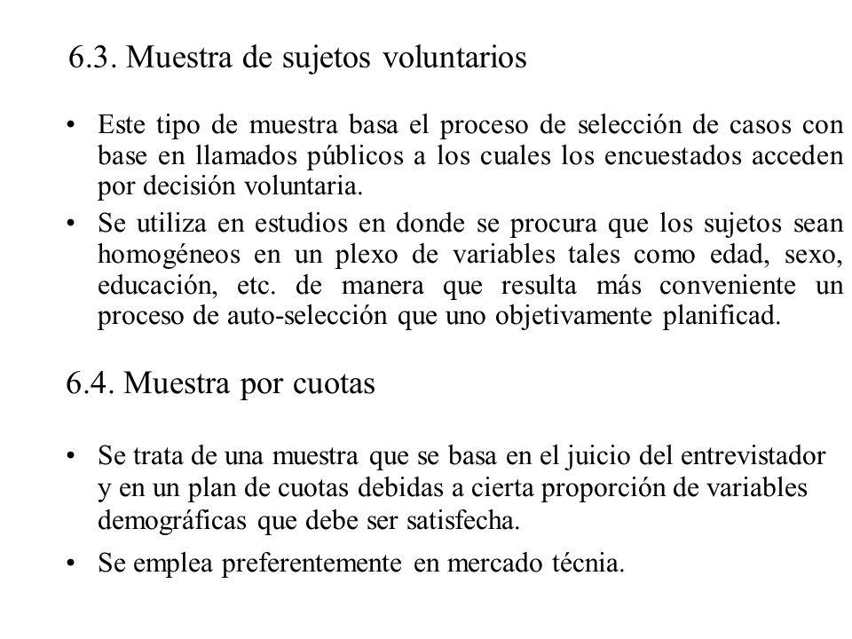 6.3. Muestra de sujetos voluntarios Este tipo de muestra basa el proceso de selección de casos con base en llamados públicos a los cuales los encuesta