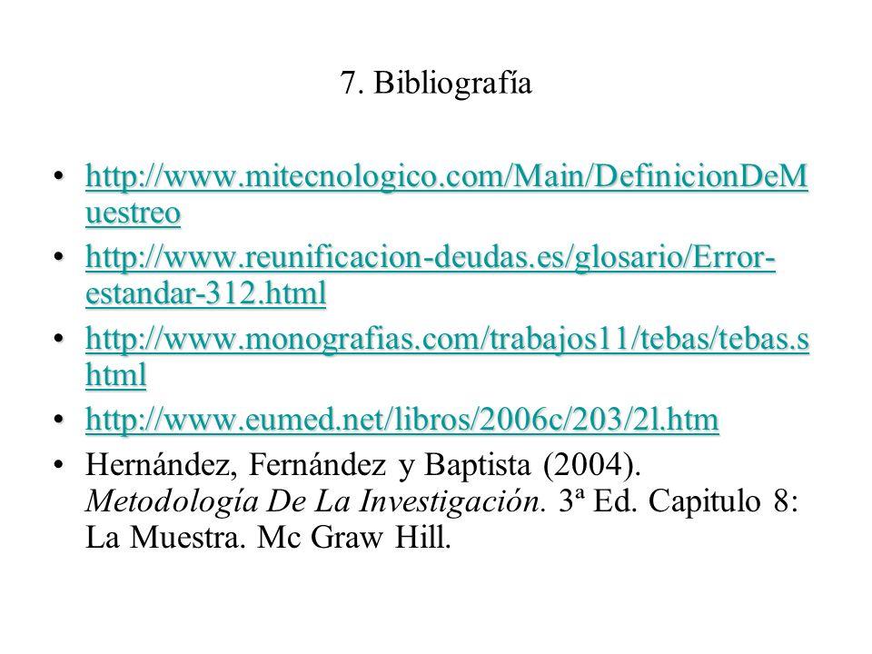 7. Bibliografía http://www.mitecnologico.com/Main/DefinicionDeM uestreohttp://www.mitecnologico.com/Main/DefinicionDeM uestreohttp://www.mitecnologico