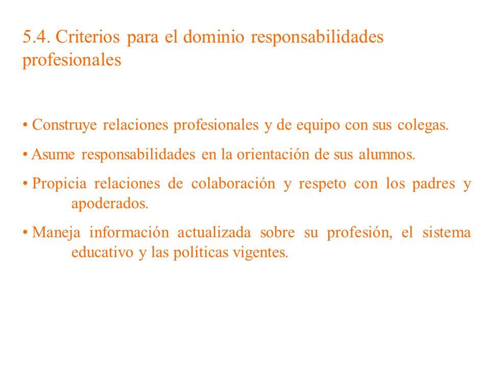 5.4. Criterios para el dominio responsabilidades profesionales Construye relaciones profesionales y de equipo con sus colegas. Asume responsabilidades