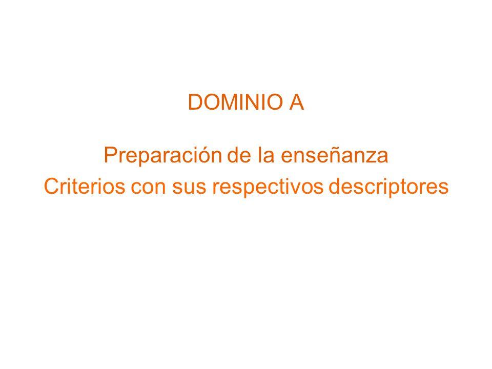 DOMINIO A Preparación de la enseñanza Criterios con sus respectivos descriptores