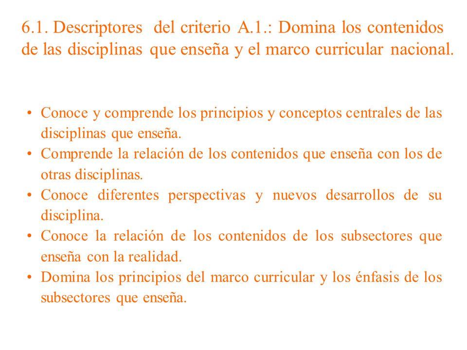 6.1. Descriptores del criterio A.1.: Domina los contenidos de las disciplinas que enseña y el marco curricular nacional. Conoce y comprende los princi