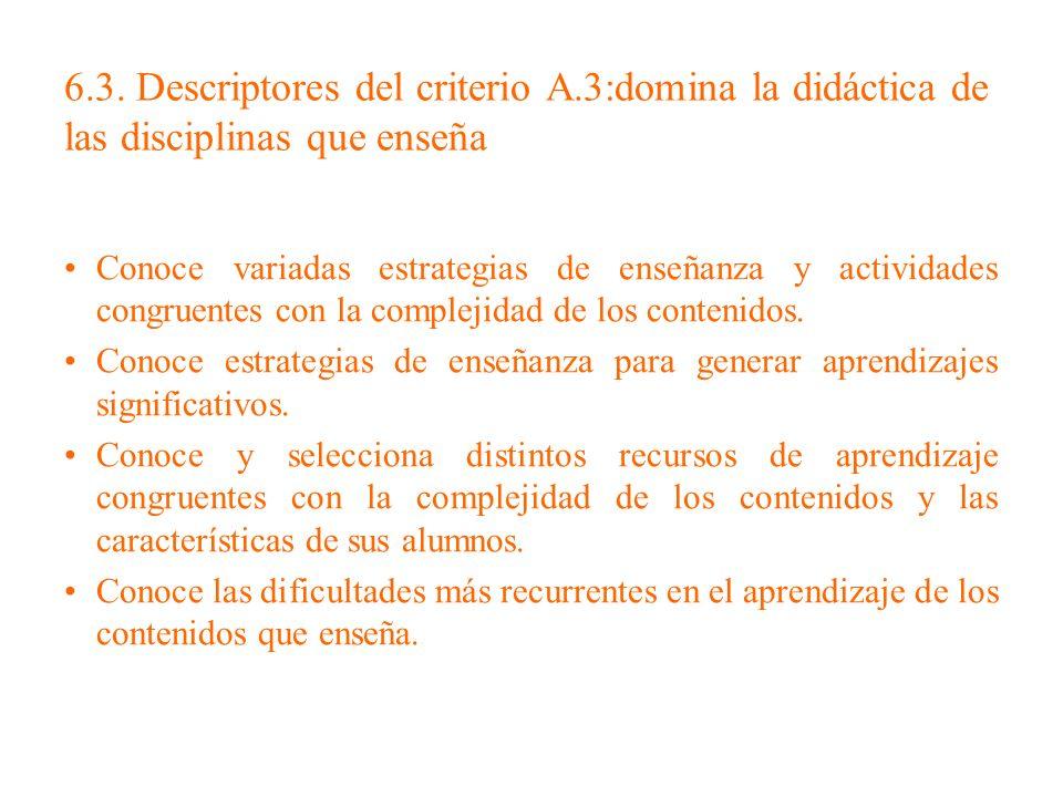 6.3. Descriptores del criterio A.3:domina la didáctica de las disciplinas que enseña Conoce variadas estrategias de enseñanza y actividades congruente