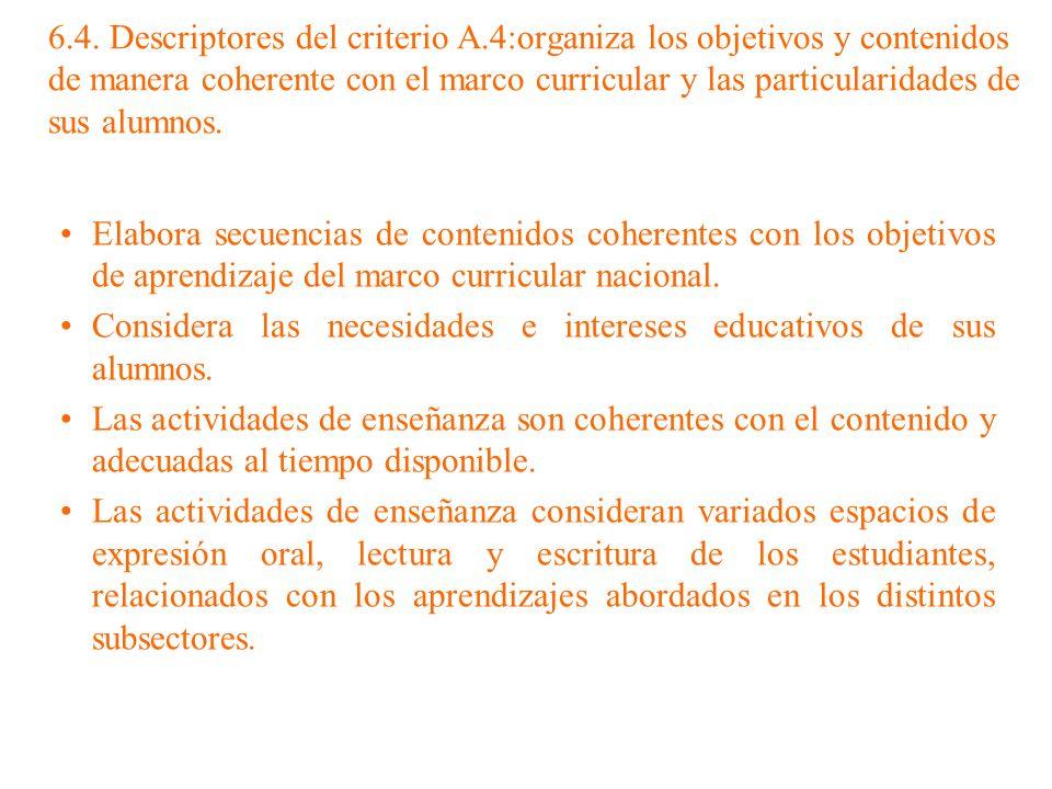 6.4. Descriptores del criterio A.4:organiza los objetivos y contenidos de manera coherente con el marco curricular y las particularidades de sus alumn