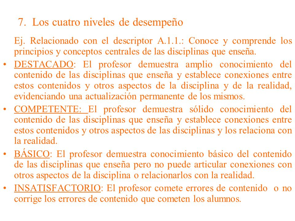 7. Los cuatro niveles de desempeño Ej. Relacionado con el descriptor A.1.1.: Conoce y comprende los principios y conceptos centrales de las disciplina