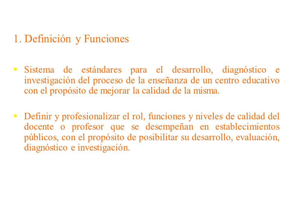 1. Definición y Funciones Sistema de estándares para el desarrollo, diagnóstico e investigación del proceso de la enseñanza de un centro educativo con
