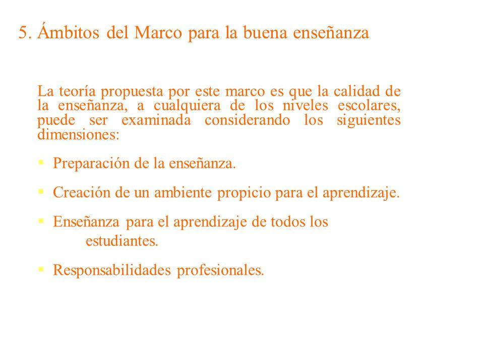 5. Ámbitos del Marco para la buena enseñanza La teoría propuesta por este marco es que la calidad de la enseñanza, a cualquiera de los niveles escolar