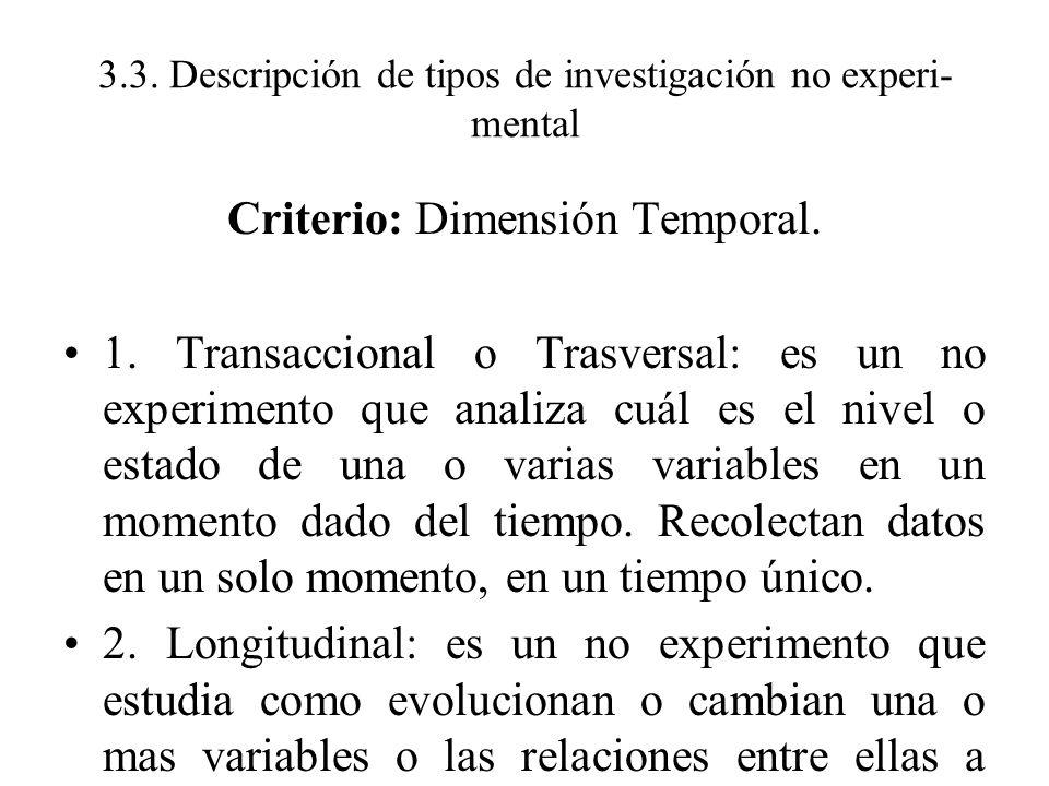 3.3. Descripción de tipos de investigación no experi- mental Criterio: Dimensión Temporal. 1. Transaccional o Trasversal: es un no experimento que ana