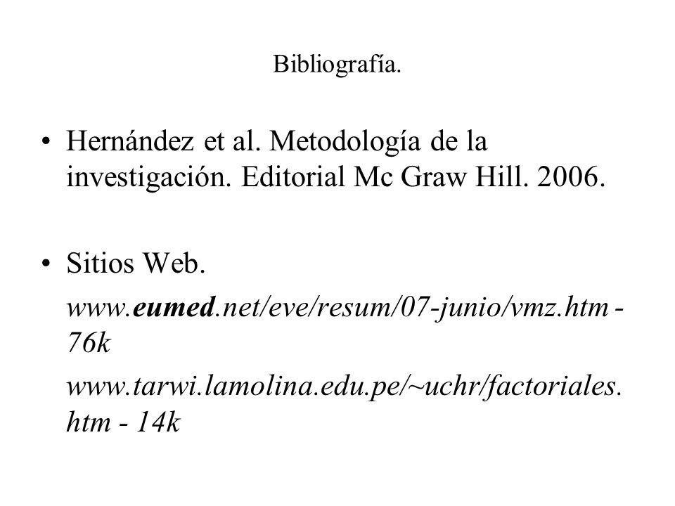 Bibliografía. Hernández et al. Metodología de la investigación. Editorial Mc Graw Hill. 2006. Sitios Web. www.eumed.net/eve/resum/07-junio/vmz.htm - 7