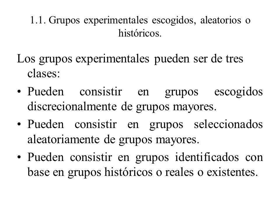 1.1. Grupos experimentales escogidos, aleatorios o históricos. Los grupos experimentales pueden ser de tres clases: Pueden consistir en grupos escogid