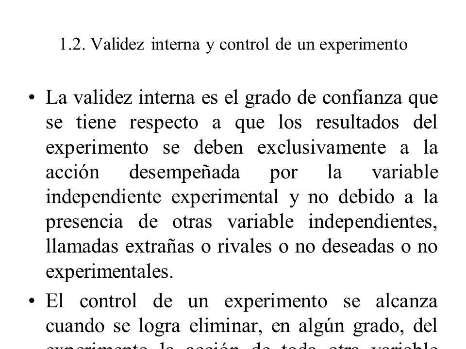 1.2. Validez interna y control de un experimento La validez interna es el grado de confianza que se tiene respecto a que los resultados del experiment