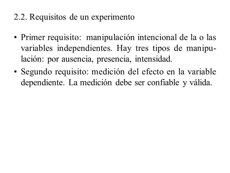 2.2. Requisitos de un experimento Primer requisito: manipulación intencional de la o las variables independientes. Hay tres tipos de manipu- lación: p