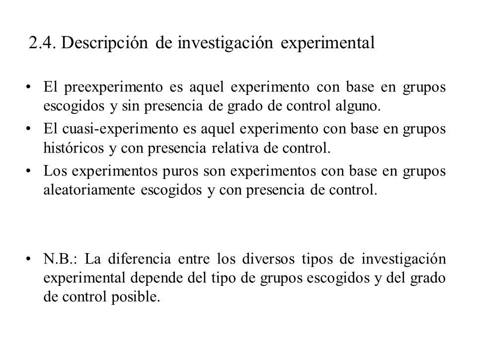 2.4. Descripción de investigación experimental El preexperimento es aquel experimento con base en grupos escogidos y sin presencia de grado de control