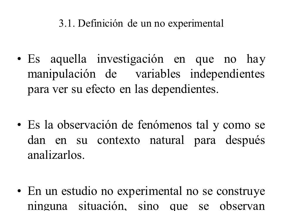 3.1. Definición de un no experimental Es aquella investigación en que no hay manipulación de variables independientes para ver su efecto en las depend