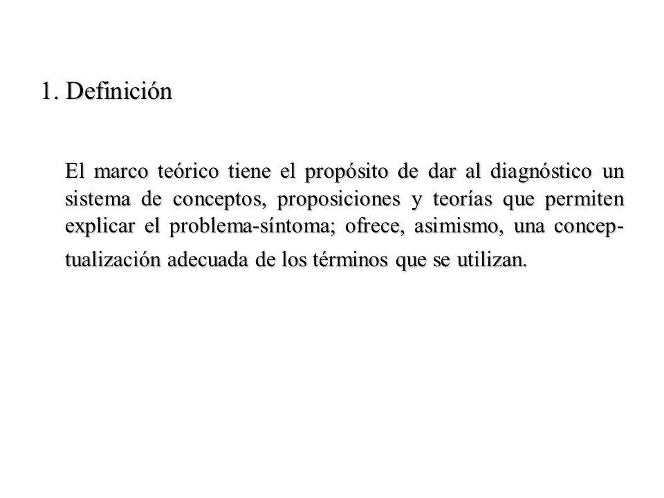 1. Definición El marco teórico tiene el propósito de dar al diagnóstico un sistema de conceptos, proposiciones y teorías que permiten explicar el prob