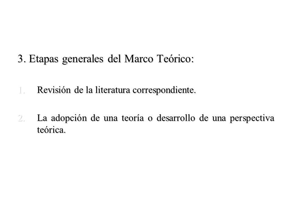 3. Etapas generales del Marco Teórico: 1.Revisión de la literatura correspondiente. 2.La adopción de una teoría o desarrollo de una perspectiva teóric