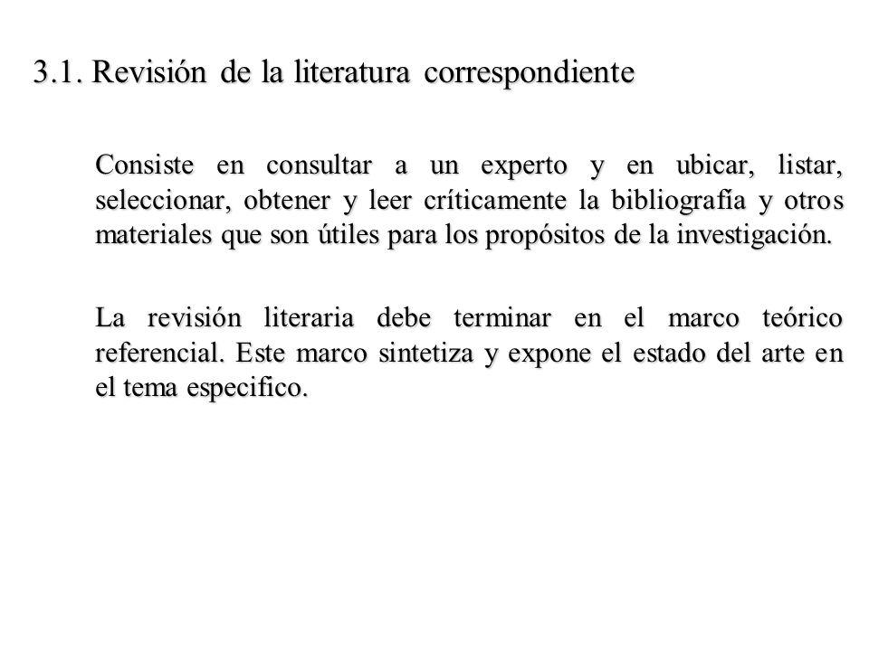 3.1. Revisión de la literatura correspondiente Consiste en consultar a un experto y en ubicar, listar, seleccionar, obtener y leer críticamente la bib